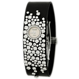 "Van Cleef & Arpels ""Rosee"" 18K White Gold Diamond Strap Watch"