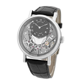 "Breguet ""La Tradition"" 18K White Gold Skeleton Mens Strap Watch 40mm"