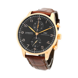 "IWC ""Portuguese"" 18K Rose Gold Automatic Chronograph Strap Watch"