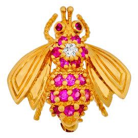 Tiffany & Co. 18K Yellow Gold Diamond & Ruby Bee Pin Brooch