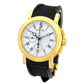 Breguet Marine Chronograph 18K Yellow Gold Strap Mens Watch