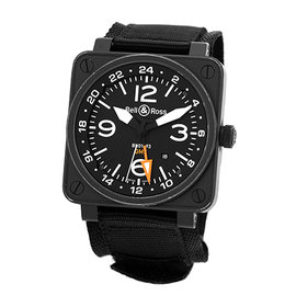 Bell & Ross BR01-93 GMT PVD Black Carbon Finish Stainless Steel Automatic 46mm Mens Watch