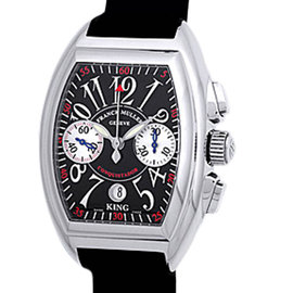 "Franck Muller ""Conquistador King Chronograph"" Stainless Steel Mens Strap Watch"