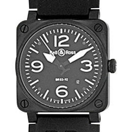 "Bell & Ross ""Aviation Type"" Stainless Steel & Carbon Finish Mens Strap Watch"