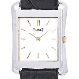 "Piaget ""Classique Tank"" 18K White Gold Mens Strap Watch"