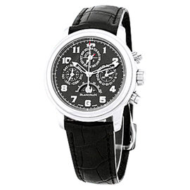 "Blancpain ""Leman Chronograph & Perpetual Calendar"" Stainless Steel Mens Strap Watch"