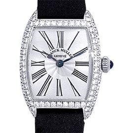 "Franck Muller Diamond ""Cintree Curvex"" 18K White Gold Womens Dress Watch"