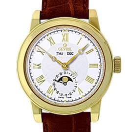 "Gevril ""Chelsea"" 18K Yellow Gold Mens Strap Watch"