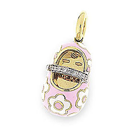 Aaron Basha Pink & White 18k Yellow Gold 0.07ct. Diamond Shoe Charm