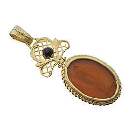 Tagliamonte Gold Plated Over Sterling Silver with Venetian Intaglio and Sapphire Pendant
