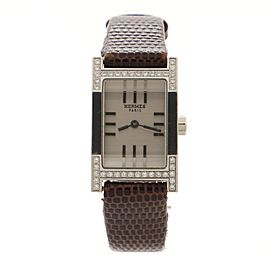 Hermes Tandem Quartz Watch Stainless Steel and Alligator with Diamond Bezel 19