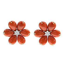 18K Yellow Gold Oxblood Coral Diamond Earrings