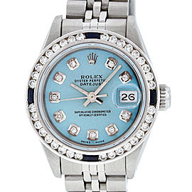 Rolex Datejust Stainless Steel & 18K White Gold with Diamond and Sapphire 26mm Womens Watch