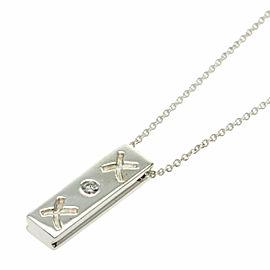 TIFFANY & Co. Silver Paloma Picasso Kiss Bar 1P Diamond Necklace