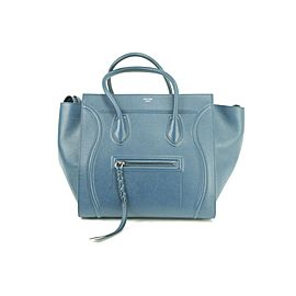Céline Cabas Phantom 5ck0107 Grainy Medium Blue Leather Tote