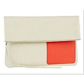 Céline Chalk/Orange Lambskin Fold Over 3cela528 Beige X Orange-res Leather Clutch