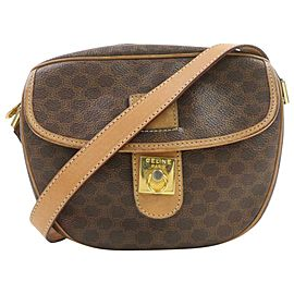 Céline Crossbody Macadam Flap Monogram 872410 Brown Coated Canvas Shoulder Bag