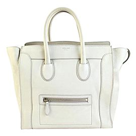 Céline Luggage Mini 7cety72817 White Leather Tote