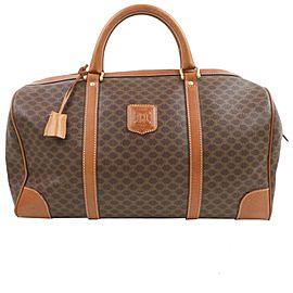 Céline Macadam Boston Duffle 872157 Monogram Brown Coated Canvas Weekend/Travel Bag