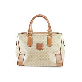 Céline Macadam Boston Monogram 12ck1216 Beige Coated Canvas Satchel