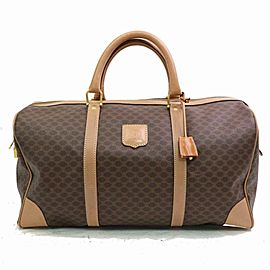 Céline Macadam Boston Duffle Monogram with Lock Key Set 870632 Brown Coated Canvas Weekend/Travel Bag