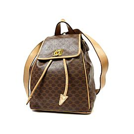 Céline Macadam Monogram 226343 Brown Coated Canvas Backpack