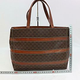 Céline Macadam Monogram Zip 870610 Brown Coated Canvas Tote