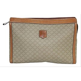 Céline Macadam Monogram Zip Pouch 5cej930 Tan Coated Canvas Clutch