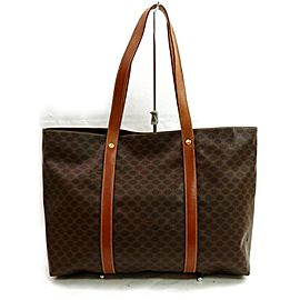 Céline Macadam Shopper Monogram Tote 872644 Brown Coated Canvas Shoulder Bag