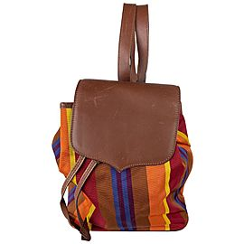 Céline Striped Multicolor 3cel61 Brown Canvas X Leather Backpack