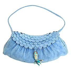 Céline Suede Fish Fringe 95cel902 Blue Satchel