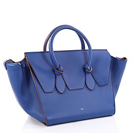 Céline Tie Knot 1ck1204 Blue Calfskin Leather Tote