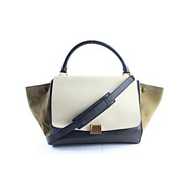 Céline Trapeze Tricolor 2way 9cer0530 Ivory X Olive X Black Leather Cross Body Bag