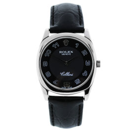 Rolex Cellini Danaos 4233 18K White Gold & Leather 34mm Mens Watch