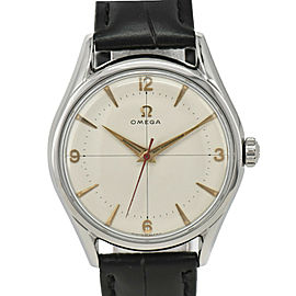 OMEGA White Dial SS/Laether Cal.283 Hand Winding Men's Watch