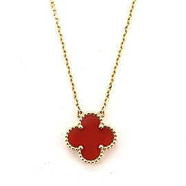 Van Cleef & Arpels Vintage Alhambra Pendant Necklace 18K Yellow Gold and Carnelian