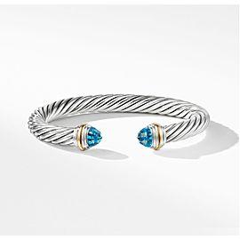 David Yurman Sterling Silver & 14k Gold Blue Topaz Bracelet, 7mm