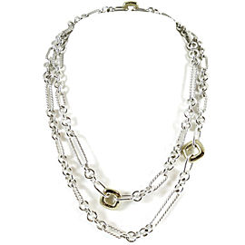 "David Yurman Sterling Silver 18K Yellow Gold 36"" Four Cushion Figaro Chain Necklace"
