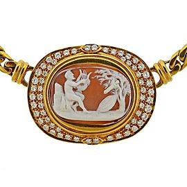 Gold Diamond Cameo Necklace