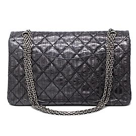 Chanel 2.55 Reissue Double Flap Jumbo Pin Stripe Rayures Classic 239715 Charcoal X Black Calfskin Leather Cross Body Bag