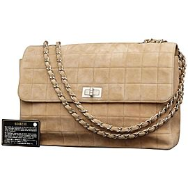 Chanel 2.55 Reissue Quilted Chocolate Bar Jumbo Flap 231371 Brown Suede Leather Shoulder Bag