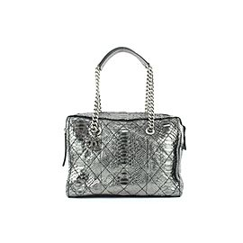 Chanel Iridescent Metallic Silver Python Bowler Chain Boston Bag 671cas318