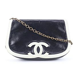 Chanel Black x White Bicolor CC Logo Flap Chain Bag Crossbody 706cas323