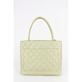 Chanel Iridescent Pearl Quilted Lambskin Medallion Zip Tote bag 830cas27