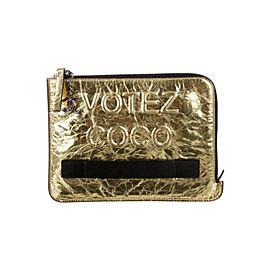 Chanel Votez Coco Gold O-Case Zip Clutch 92cas81