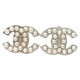 Chanel Classic Silver-Tone Metal CC Simulated Glass Pearl Earrings