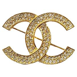 Chanel 18K Gold Plated Metal & Rhinestone CC Brooch