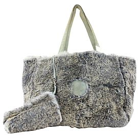 Chanel Grey CC Logo Rabbit Fur Tote bag with Pouch 227ccs211