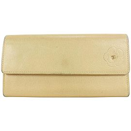 Chanel Beige Gold Leather CC Camelia Flap Wallet7ccs111