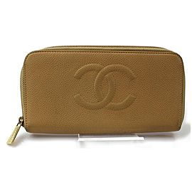 Chanel Beige Caviar CC Logo Zip Around L-Gusset Zippy Wallet 871787